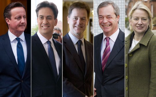 (from left): David Cameron - Conservatives, Ed Miliband - Labour, Nick Clegg - Liberal Democrats, Nigel Farage - UKIP, Natalie Bennett - Green Party